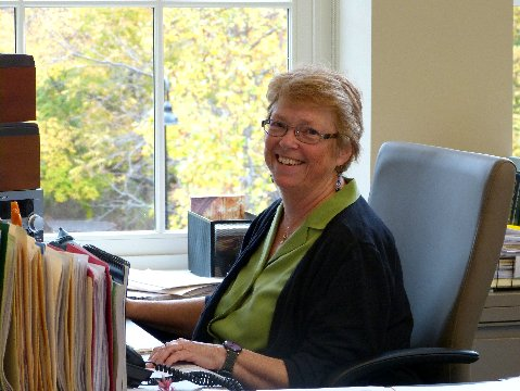 Susan at desk Oct 2013 for Town Clerk main page.jpg